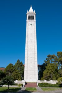 The Sather Tower on the UC Berkeley campus in Berkeley, California.